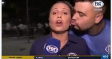 Vídeo: torcedor tenta beijar repórter durante transmissão ao vivo